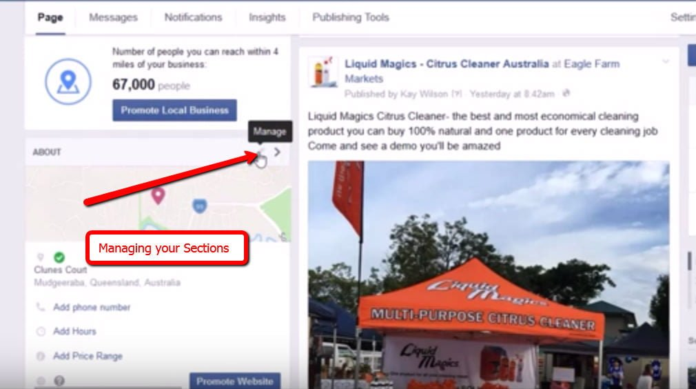 Rearranging Your Business Facebook Page Sections