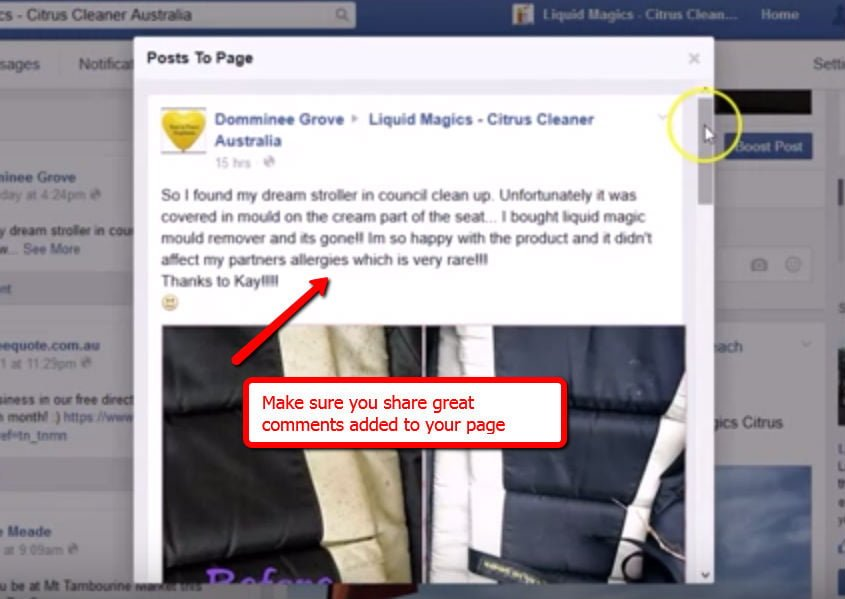Facebook: Sharing Great Posts Added to Your Page by customer