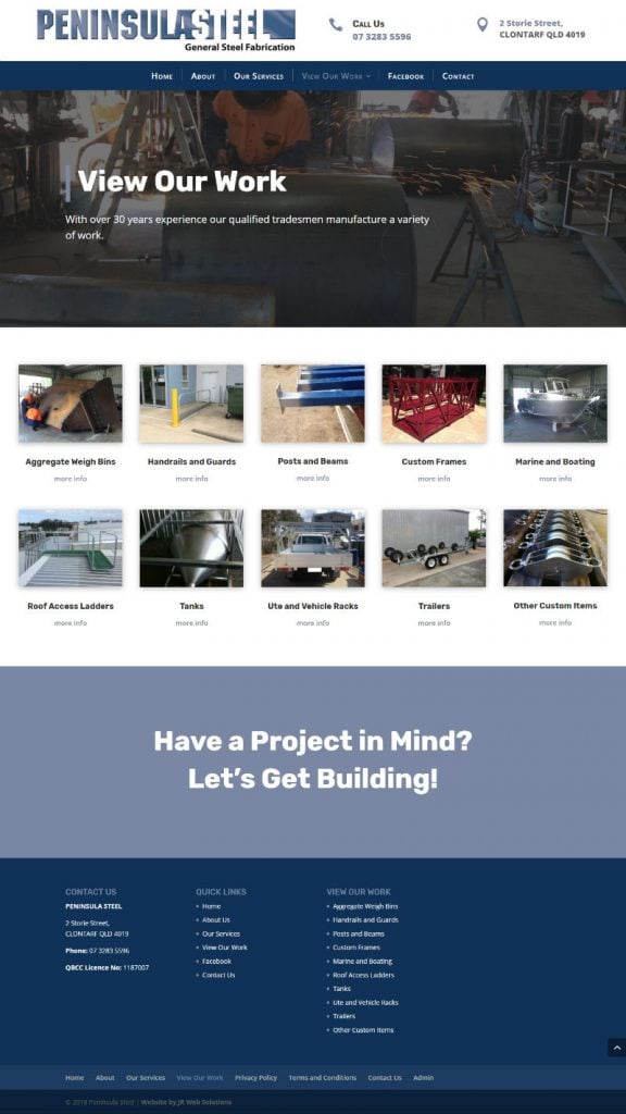 Peninsula Steel Fabrication - New Website Design
