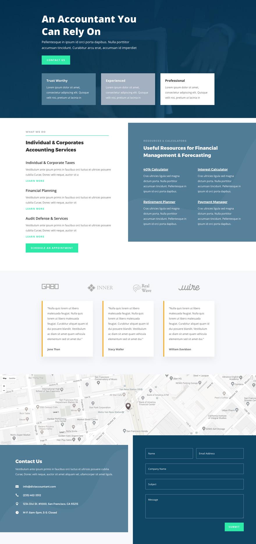 Accountant Pre-made WordPress Website Design