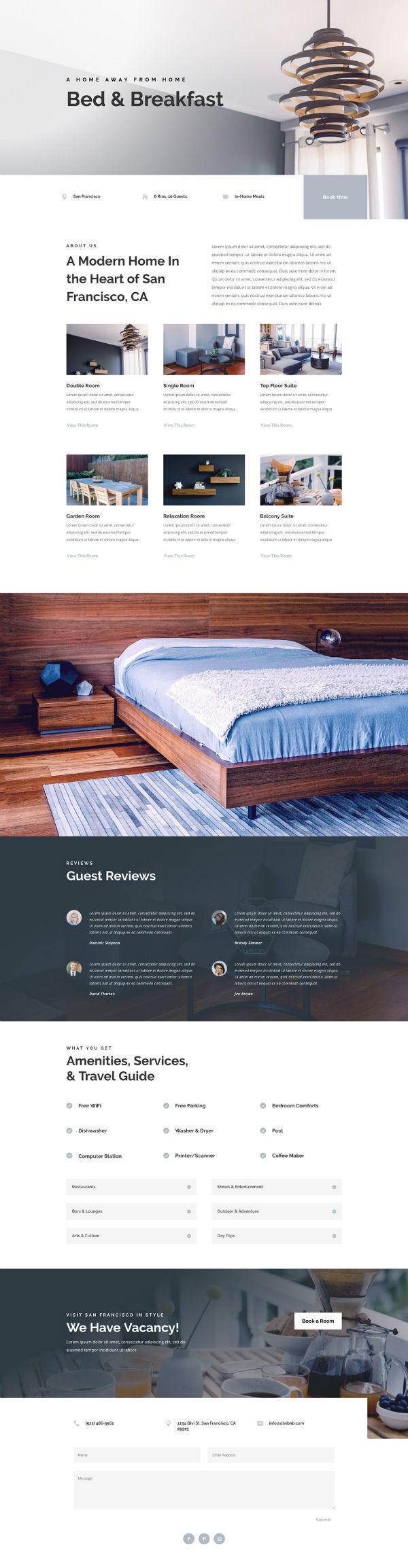 Bed and Breakfast Pre-made WordPress Website Design