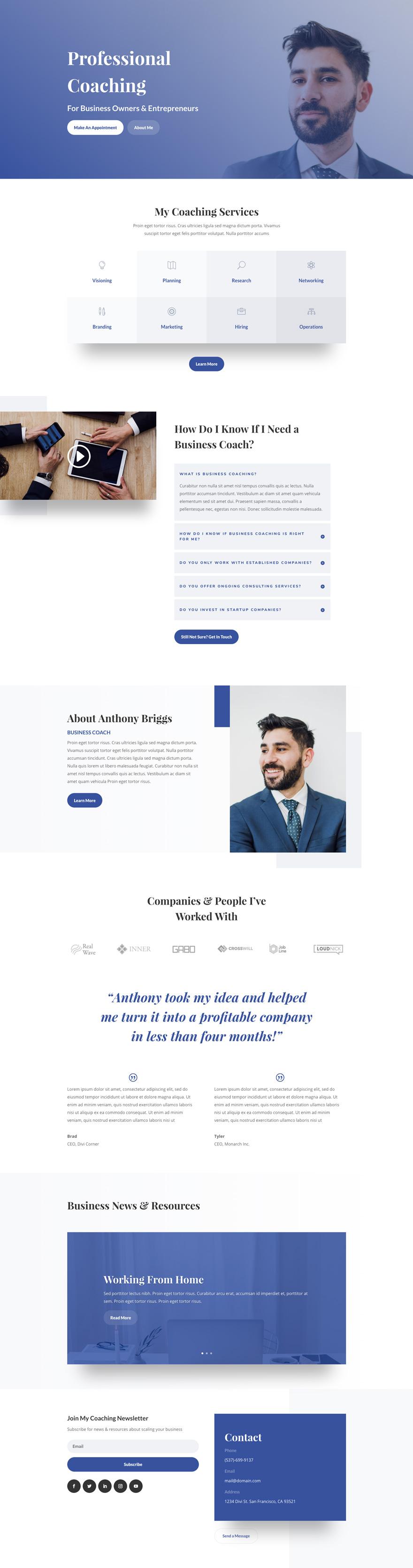 Business Coach Pre-made WordPress Website Design