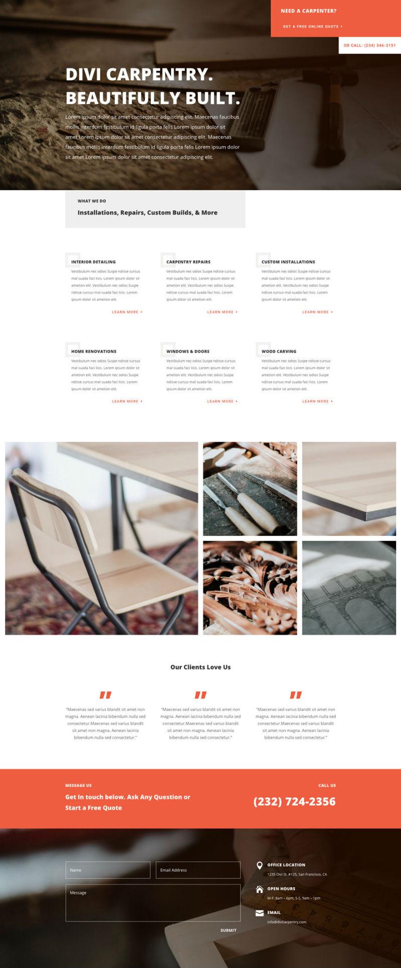 Carpenter Pre-made WordPress Website Design