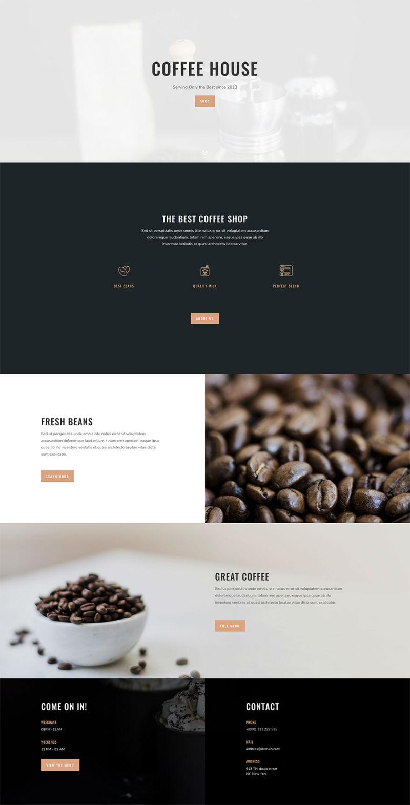 Coffee Shop Pre-made WordPress Website Design