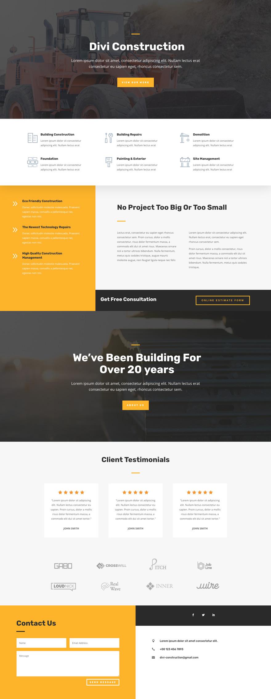 Construction Pre-made WordPress Website Design