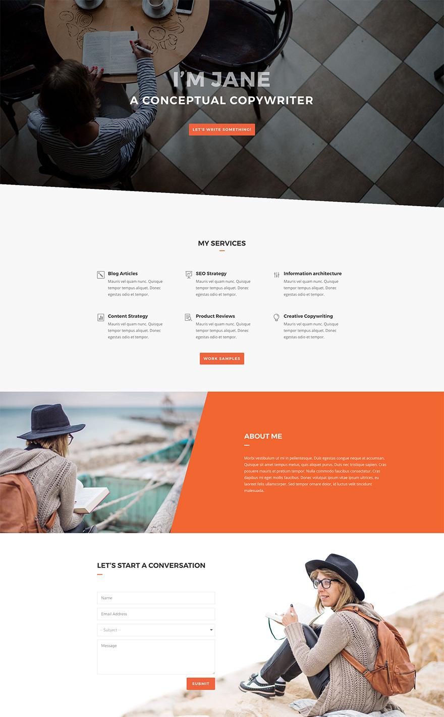 Copywriter Pre-made WordPress Website Design