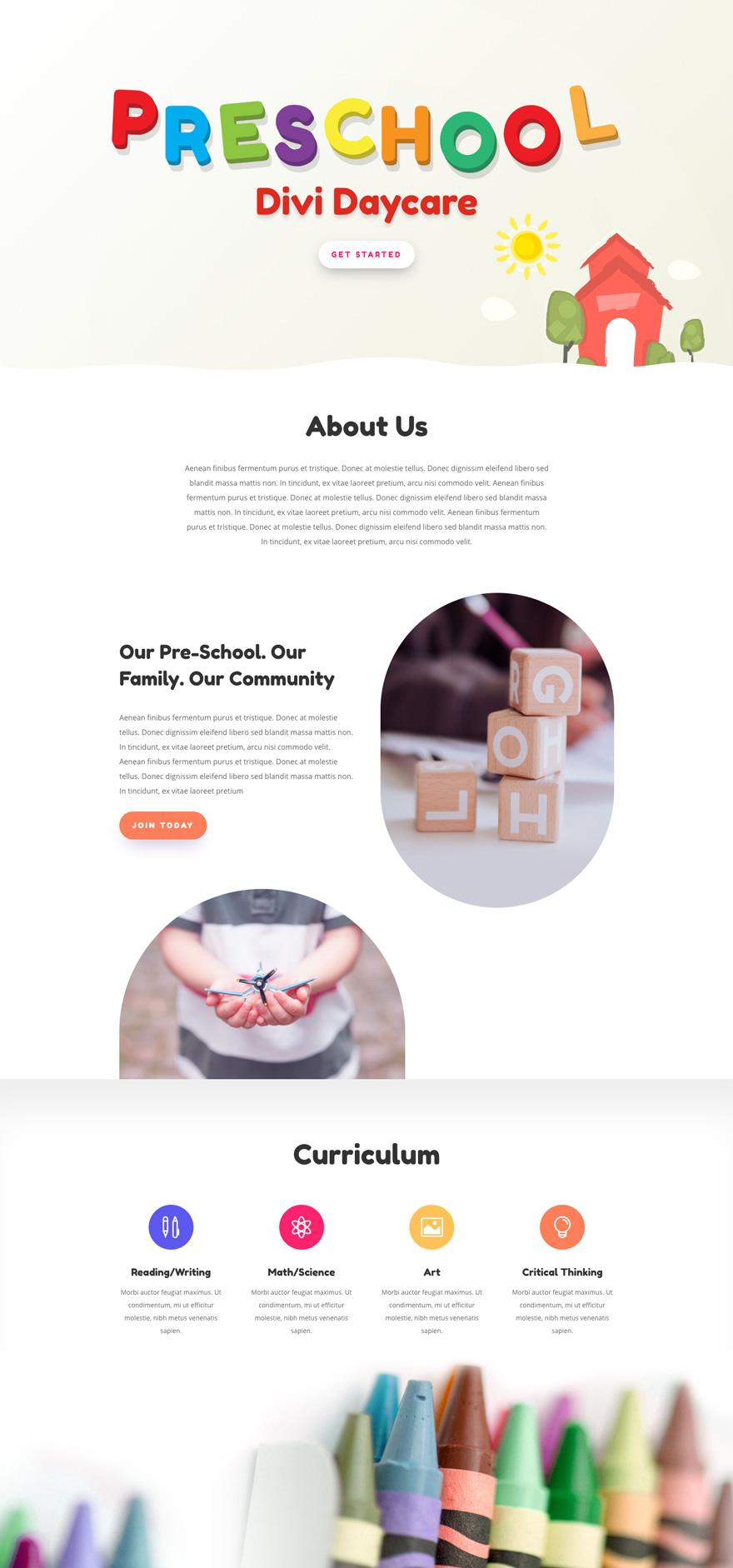 Day Care Pre-made WordPress Website Design