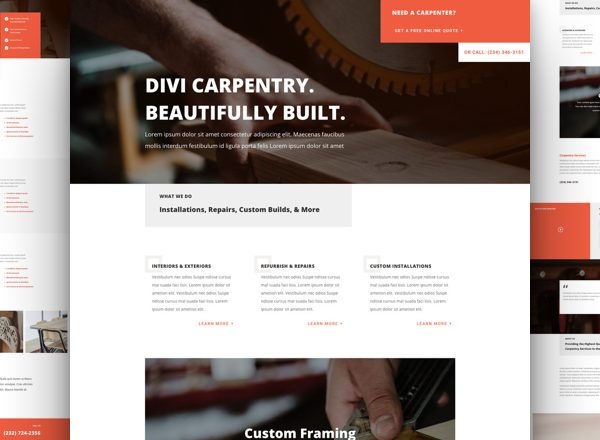 Carpenter Services Pre-made Divi WordPress Website Design