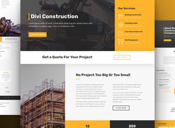 Construction Company Pre-made Divi WordPress Website Design