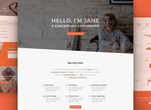 Copywriter Pre-made Divi WordPress Website Design