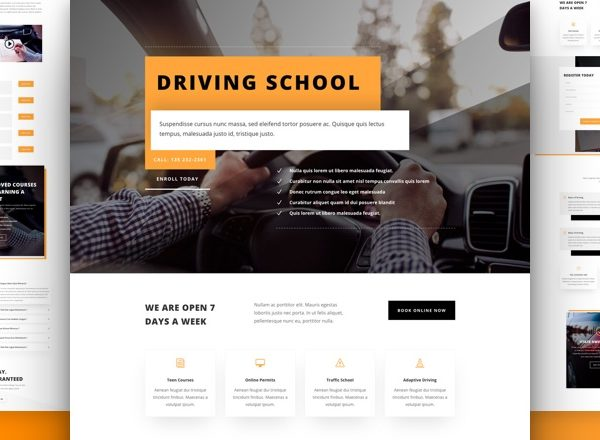 Driving School Pre-made Divi WordPress Website Design