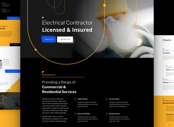 Electrician Pre-made Divi WordPress Website Design