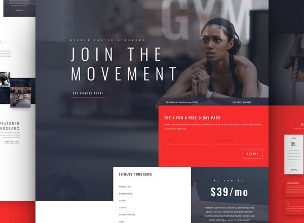 Fitness Gym Pre-made Divi WordPress Website Design