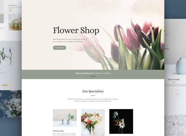 Flower Shop Pre-made Divi WordPress Website Design
