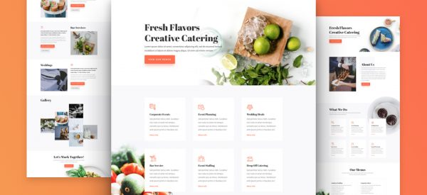 Food Catering Pre-made Divi WordPress Website Design