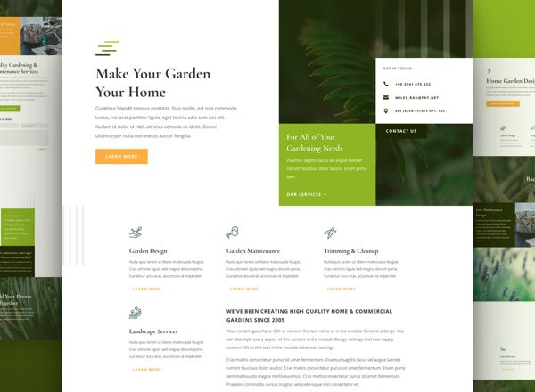 Gardener Services Pre-made Divi WordPress Website Design