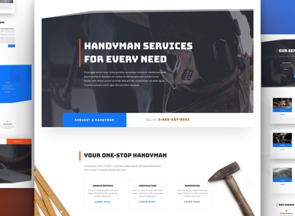 Handyman Services Pre-made Divi WordPress Website Design
