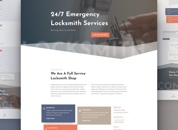Locksmith Services Pre-made Divi WordPress Website Design