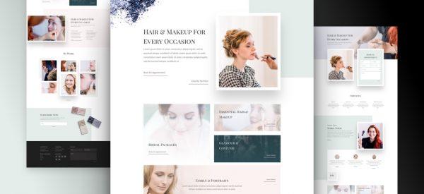 Hair and Makeup Artist Pre-made Divi WordPress Website Design