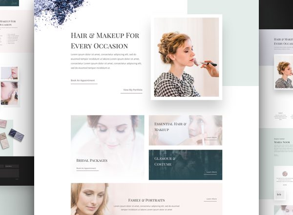 Hair and Makeup Artist Pre-made Divi WordPress Website Design