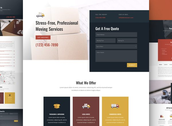 Moving Company Pre-made Divi WordPress Website Design