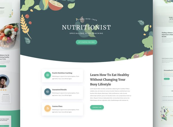 Nutritionist Pre-made Divi WordPress Website Design