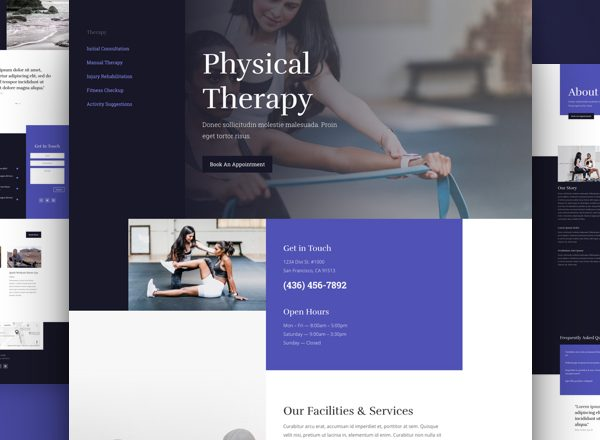 Physical Therapist Pre-made Divi WordPress Website Design