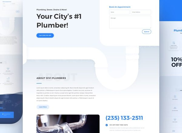 Plumber Pre-made Divi WordPress Website Design