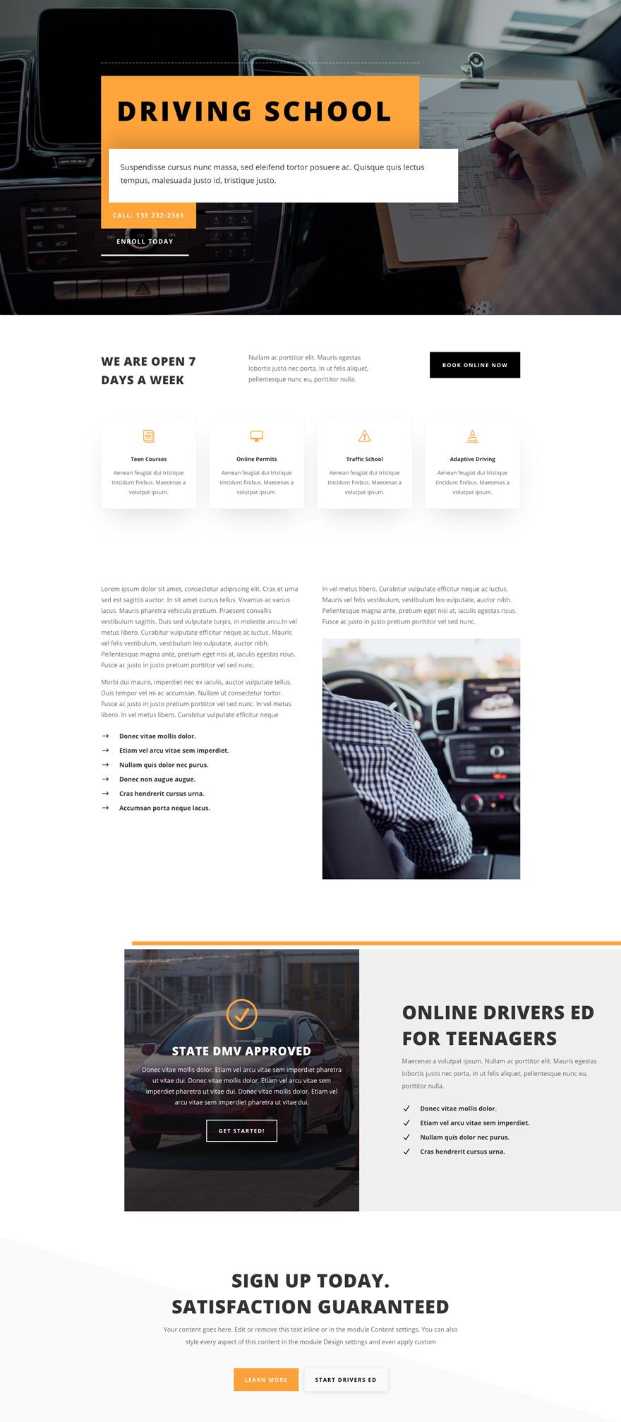Driving School Pre-made WordPress Website Design