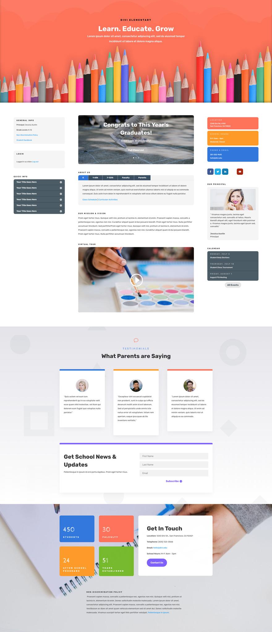 School Pre-made Divi WordPress Website Design
