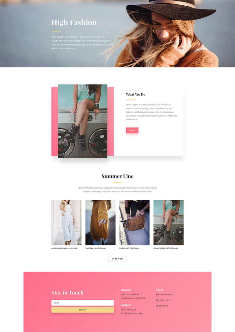 Fashion Shop Pre-made WordPress Website Design