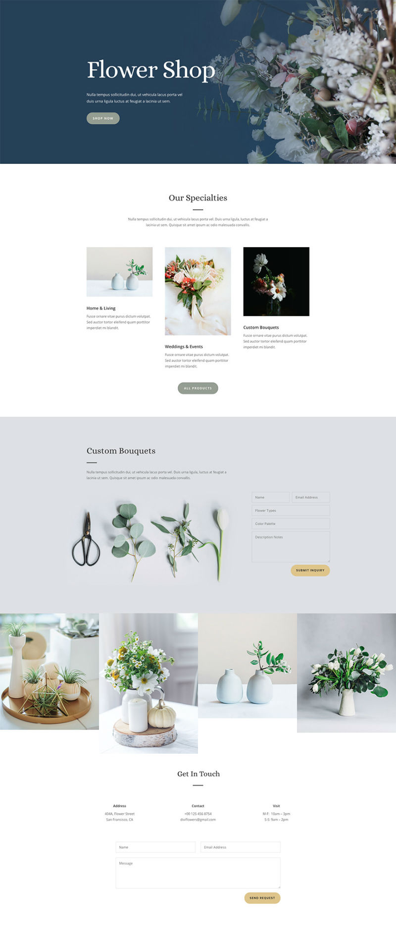 Flower Shop Pre-made WordPress Website Design