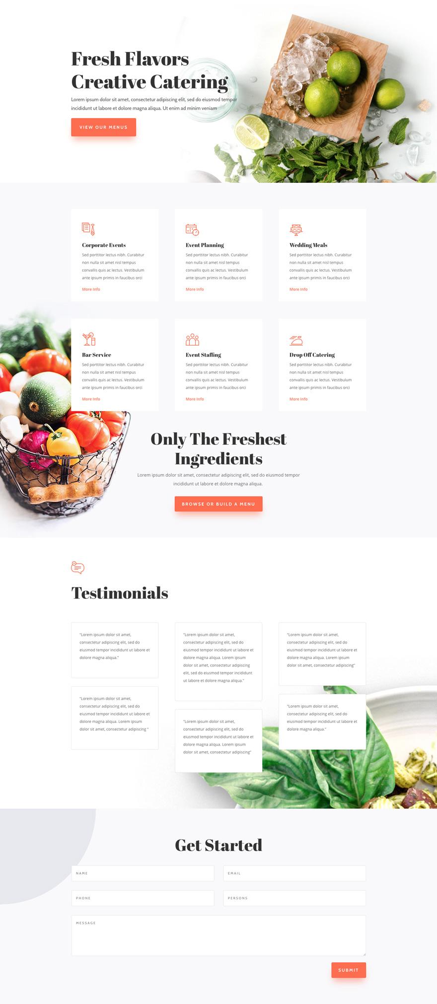 Food Catering Pre-made WordPress Website Design