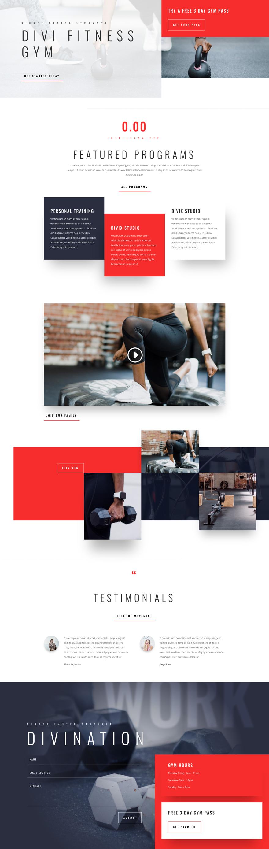 Fitness Gym Pre-made Divi WordPress Website Design