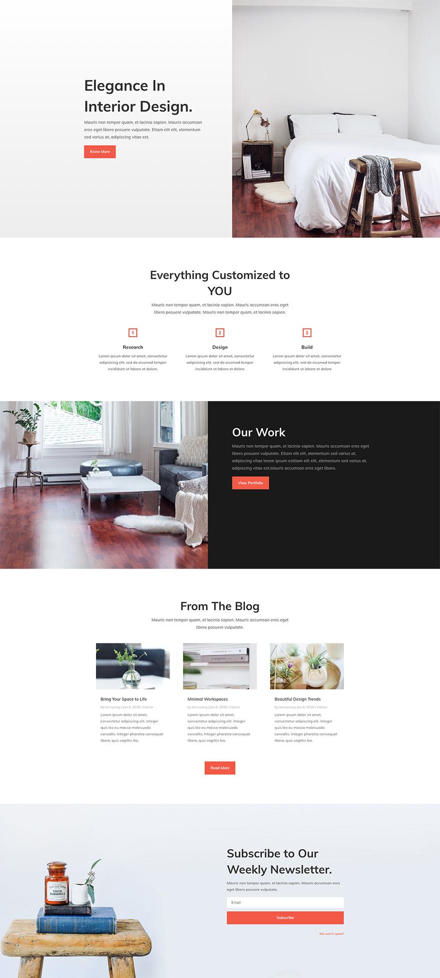 Interior Design Pre-made WordPress Website Design