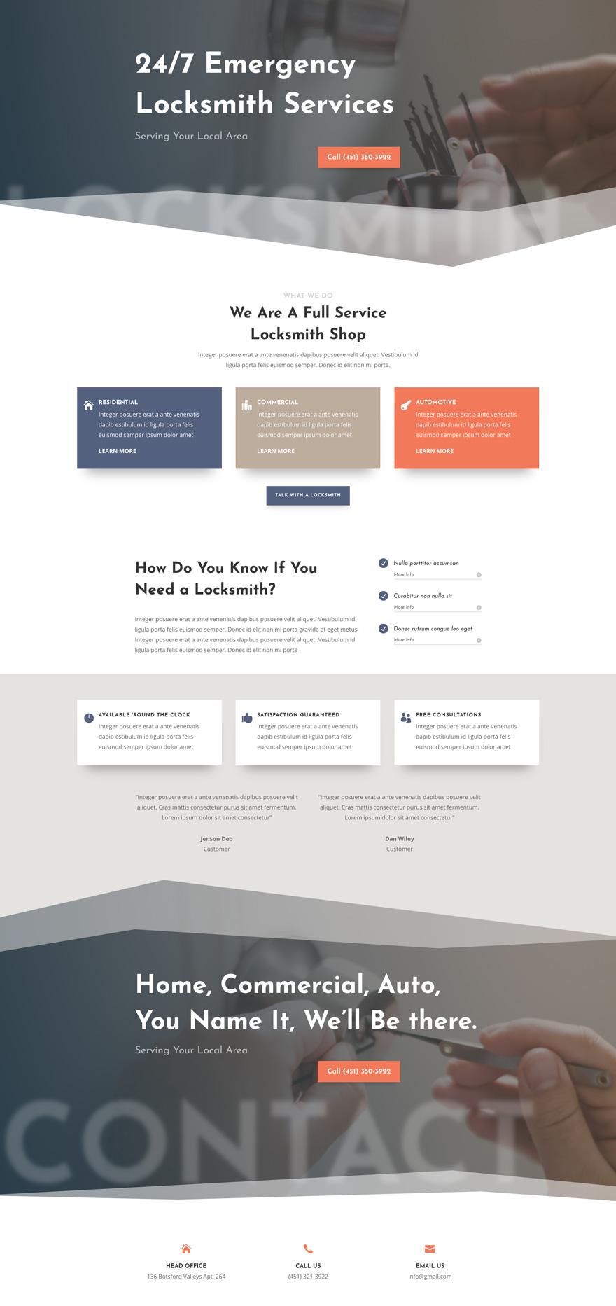 Locksmith Services Pre-made WordPress Website Design