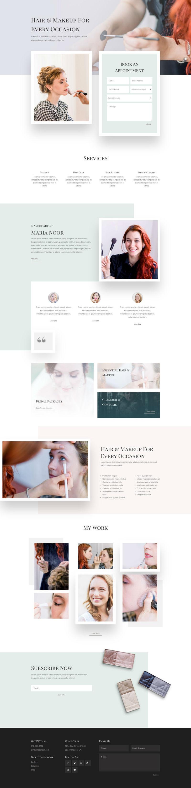 Hair and Makeup Artist Pre-made WordPress Website Design