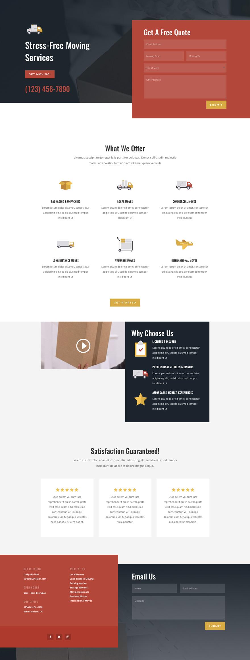 Moving Company Pre-made WordPress Website Design
