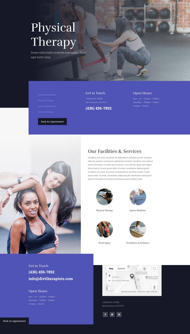 Physical Therapist Pre-made Divi WordPress Website Design