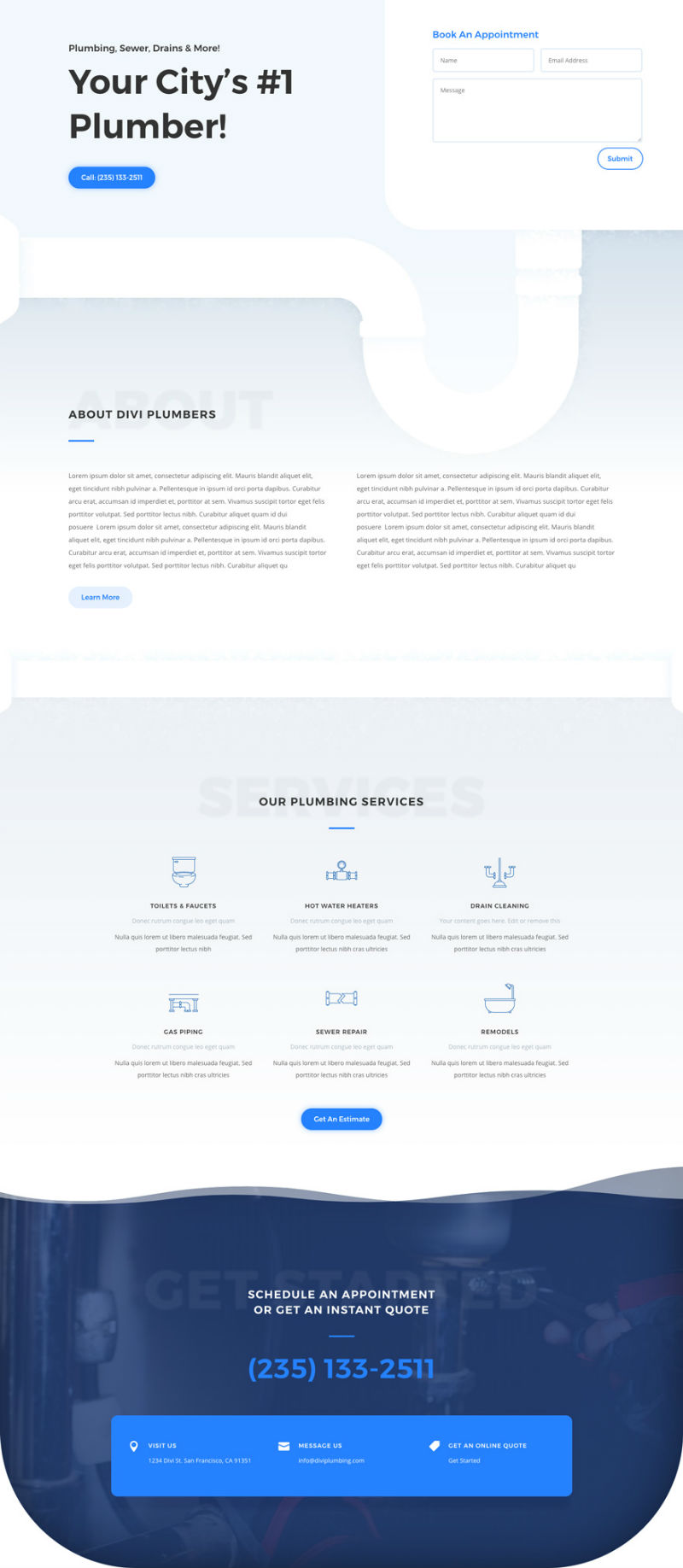 Plumbing Services Pre-made Divi WordPress Website Design