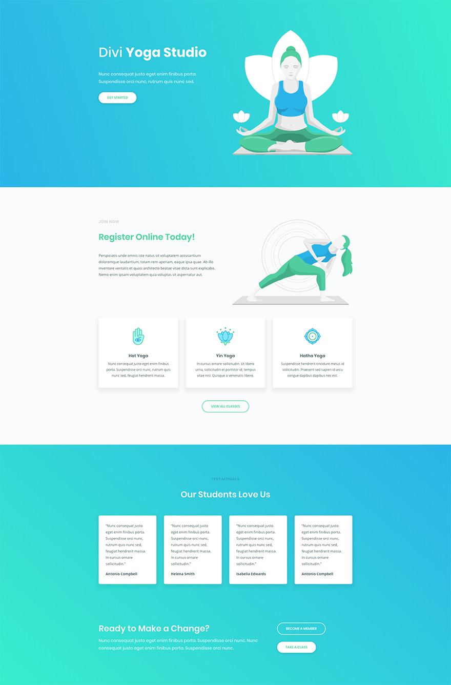 Yoga Pre-made Divi WordPress Website Design