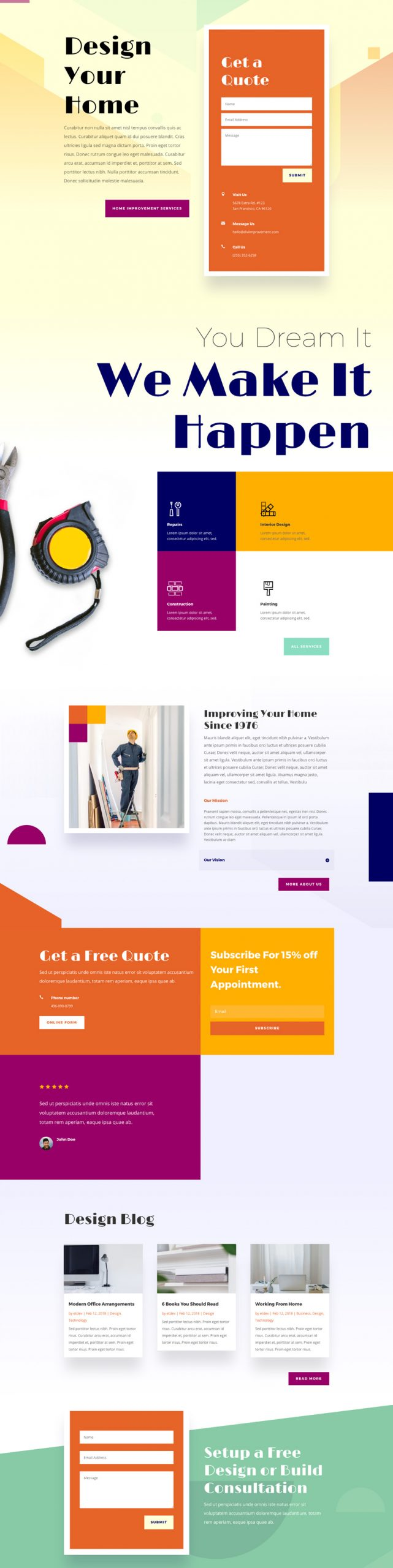 Home Improvement - Divi WordPress Website Design