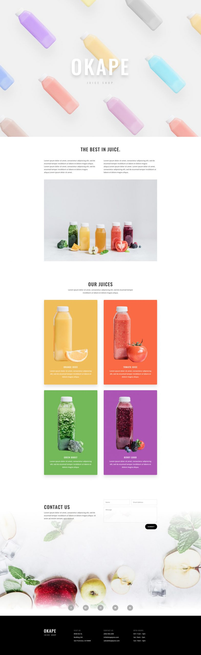 Fresh Fruit Juice Shop Pre-made Divi WordPress Website Design